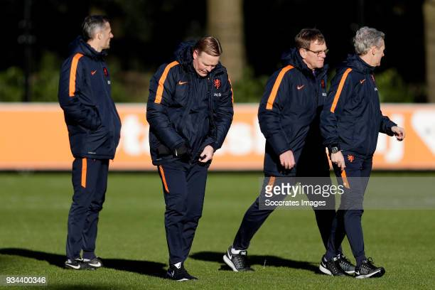 coach Ronald Koeman of Holland assistant trainer Dwight Lodeweges of Holland physical trainer Jan Kluitenberg of Holland during the Training Holland...