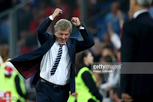 Coach Roy Hodgson of England celebrates a scored goal during the EURO 2016 Qualifier match between Switzerland and England on September 8, 2014 in...