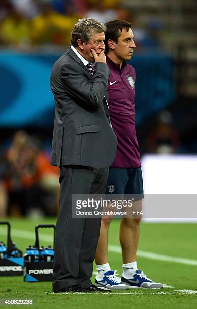 Coach Roy Hodgson of England looks on during the 2014 FIFA World Cup Brazil Group D match between England and Italy at Arena Amazonia on June 14 2014...
