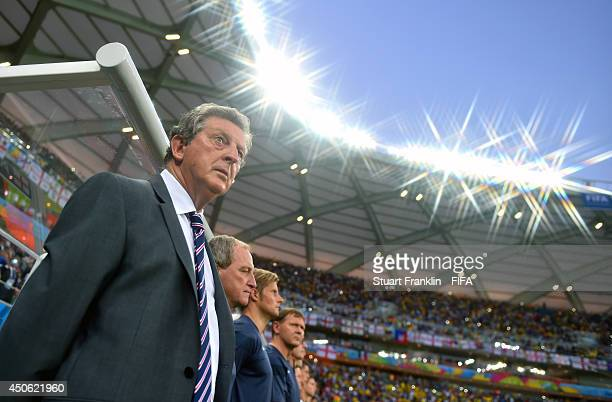 Coach Roy Hodgson of England looks on prior to the 2014 FIFA World Cup Brazil Group D match between England and Italy at Arena Amazonia on June 14...