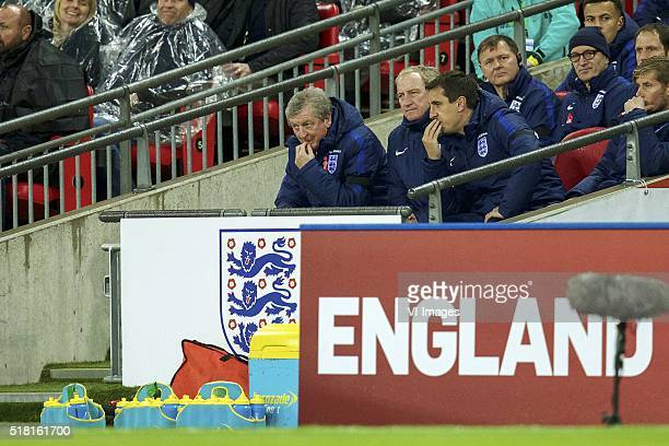 coach Roy Hodgson of England Ray Clemence of England assistant trainer Phil Neville of England during the friendly match between England and...