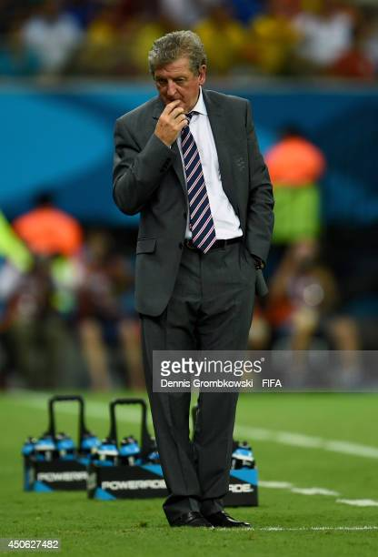 Coach Roy Hodgson of England reacts during the 2014 FIFA World Cup Brazil Group D match between England and Italy at Arena Amazonia on June 14 2014...