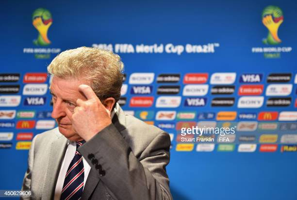 Coach Roy Hodgson of England speaks to the media in the mixed zone after the 2014 FIFA World Cup Brazil Group D match between England and Italy at...