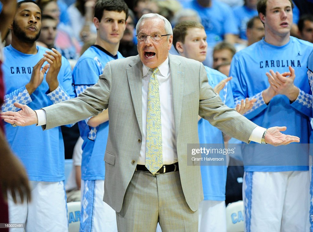 Coach Roy Williams of the North Carolina Tar Heels argues a foul called against his team during play against the Florida State Seminoles during play at Dean Smith Center on March 3, 2013 in Chapel Hill, North Carolina. North Carolina won 79-58.
