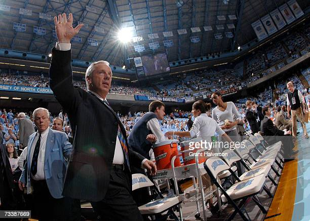 Coach Roy WIlliams of the North Carolina Tar Heels arrives for a game against the North Carolina State Wolfpack on February 21 2007 at the Dean Smith...