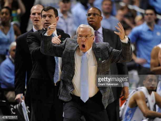Coach Roy Williams of the North Carolina Tar Heels reacts during a loss to the Pittsbugh Panthers during the quarterfinals of the 2014 Men's ACC...