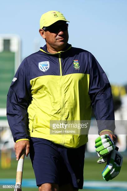 Coach Russell Domingo of South Africa looks on during day one of the Test match between New Zealand and South Africa at Basin Reserve on March 16...