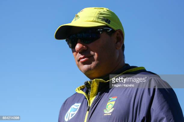Coach Russell Domingo of South Africa looks on during day two of the test match between New Zealand and South Africa at Basin Reserve on March 17...
