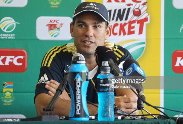 Coach Russell Domingo of South Africa speaks during the South Africa press conference at Sahara Park Kingsmead on December 19, 2012 in Durban, South...