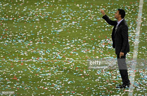 Coach Ruud Gullit of the Los Angeles Galaxy leads his team against the Colorado Rapids at Dick's Sporting Goods Park on March 29, 2008 in Commerce...
