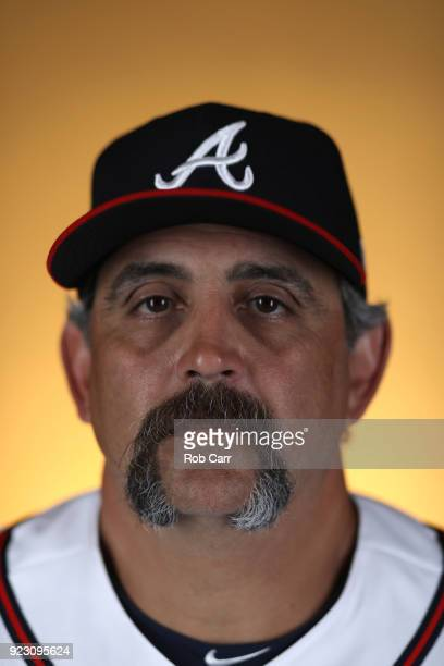 Coach Sal Fasano of the Atlanta Braves poses for a photo during photo days at Champion Stadium on February 22 2018 in Lake Buena Vista Florida