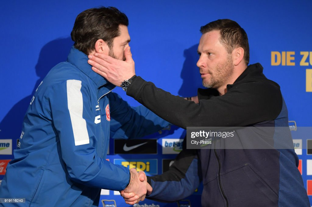 Coach Sandro Schwarz of FSV Mainz 05 and coach Pal Dardai of Hertha BSC during the press conference after the first Bundesliga game between Hertha BSC and 1st FSV Mainz 05 at olympiastadion on February 16, 2018 in Berlin, Germany.
