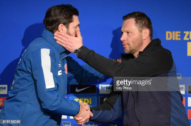 Coach Sandro Schwarz of FSV Mainz 05 and coach Pal Dardai of Hertha BSC during the press conference after the first Bundesliga game between Hertha...