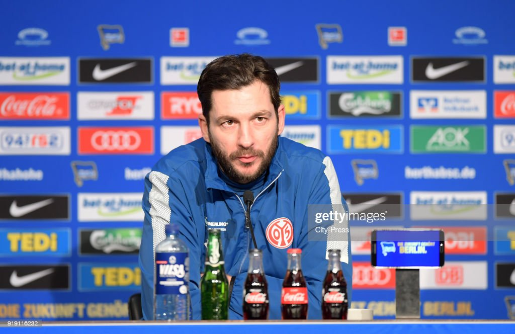 Coach Sandro Schwarz of FSV Mainz 05 during the press conference after the first Bundesliga game between Hertha BSC and 1st FSV Mainz 05 at olympiastadion on February 16, 2018 in Berlin, Germany.