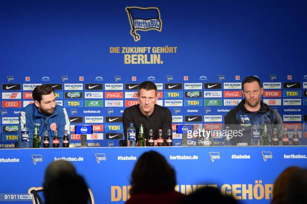Coach Sandro Schwarz of FSV Mainz 05 Marcus 'Max' Jung and coach Pal Dardai of Hertha BSC during the press conference after the first Bundesliga game...