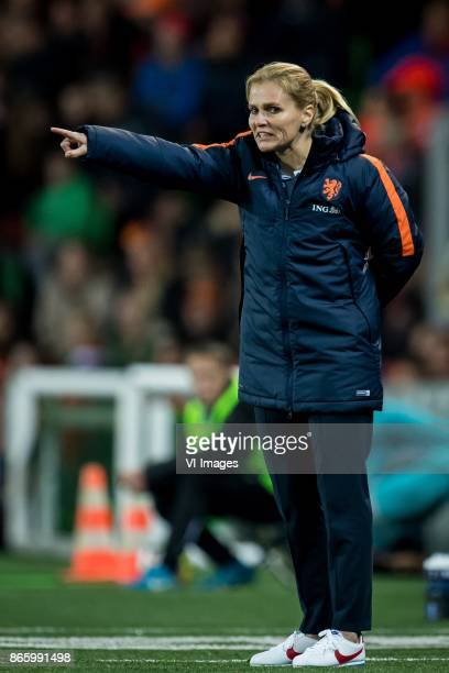 Coach Sarina GlotzbachWiegman of the Netherlands during the FIFA Women's World Cup 2019 qualifying match between The Netherlands and Norway at the...