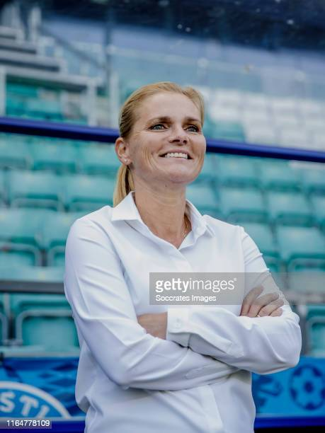 Coach Sarina Wiegman of Holland during the EURO Qualifier Women match between Estonia v Holland at the Lillekula Stadium on August 30, 2019 in...