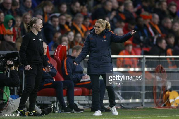 Coach Sarina Wiegman of Holland during the FIFA Women's World Cup 2019 qualifying match between The Netherlands and Northern Ireland at the Philips...