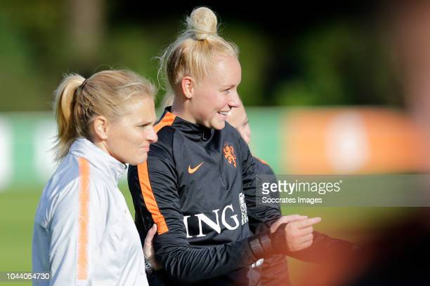 Coach Sarina Wiegman of Holland Women, Danique Kerkdijk of Holland Women during the Training Holland Women at the KNVB Campus on October 1, 2018 in...