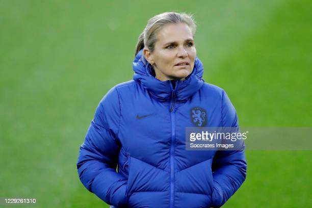 Coach Sarina Wiegman of Holland Women during the EURO Qualifier Women match between Holland v Estonia at the Hitachi Capital Mobility Stadion on...