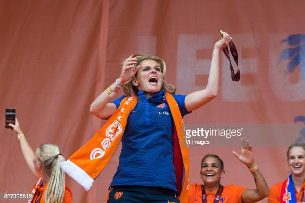 coach Sarina Wiegman of Holland Women during the honoring of the Netherlands women team at Park Lepelenburg on August 07 2017 in Utrecht the...