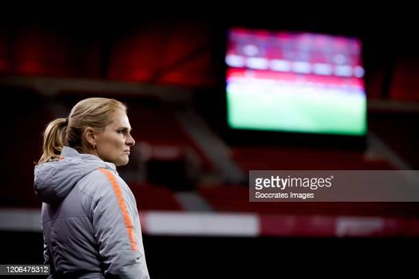 Coach Sarina Wiegman of Holland Women during the International Friendly Women match between France v Holland at the Stade du Hainaut on March 10,...