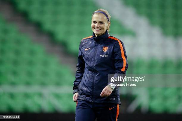 coach Sarina Wiegman of Holland Women during the match between Training Holland Women at the Noordlease stadium on October 23 2017 in Groningen...