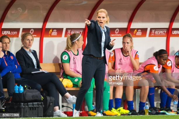 coach Sarina Wiegman of Holland Women during the semifinal UEFA WEURO 2017 match between The Netherlands and England at the Grolsch Veste on August 3...