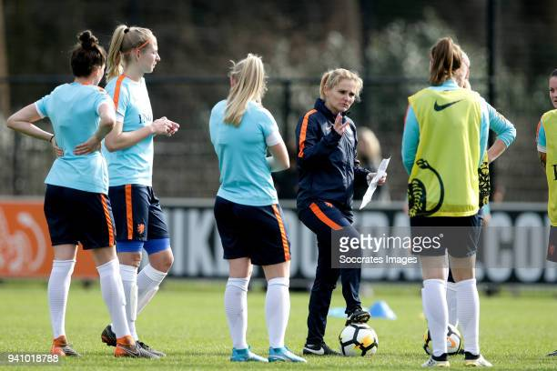 coach Sarina Wiegman of Holland Women during the Training Holland Women at the KNVB Campus on April 2 2018 in Zeist Netherlands