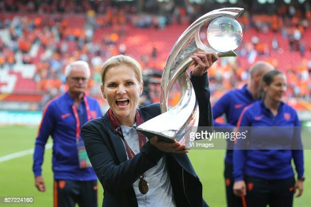Coach Sarina Wiegman of Holland Women during the UEFA WEURO 2017 final match between The Netherlands and Denmark at the Grolsch Veste on August 06,...