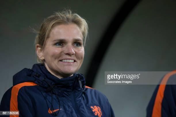 Coach Sarina Wiegman of Holland Women during the World Cup Qualifier match between Holland v Republic of Ireland at the Goffert Stadium on November...