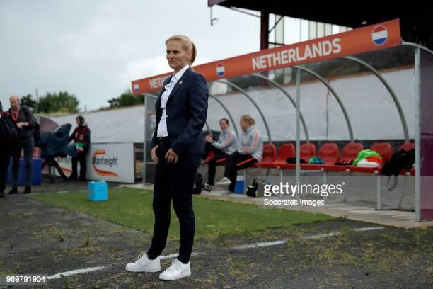 coach Sarina Wiegman of Holland Women during the World Cup Qualifier Women match between Northern Ireland v Holland at the Shamrock Park on June 8...