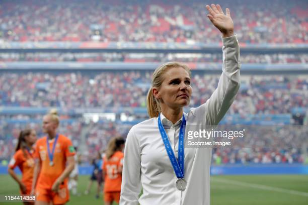 Coach Sarina Wiegman of Holland Women during the World Cup Women match between USA v Holland at the Stade de Lyon on July 7, 2019 in Lyon France