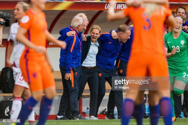 coach Sarina Wiegman of Holland Women is celebrating during the UEFA WEURO 2017 final match between The Netherlands and Denmark at the Grolsch Veste...