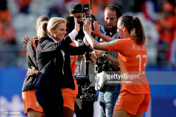 Coach Sarina Wiegman of Holland Women, Renate Jansen of Holland Women celebrates the victory during the World Cup Women match between Holland v...