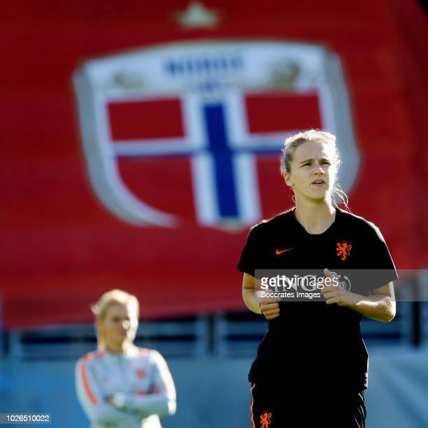Coach Sarina Wiegman of Holland Women, Vivianne Miedema of Holland Women during the Training Holland Women in Oslo at the Intility Arena on September...