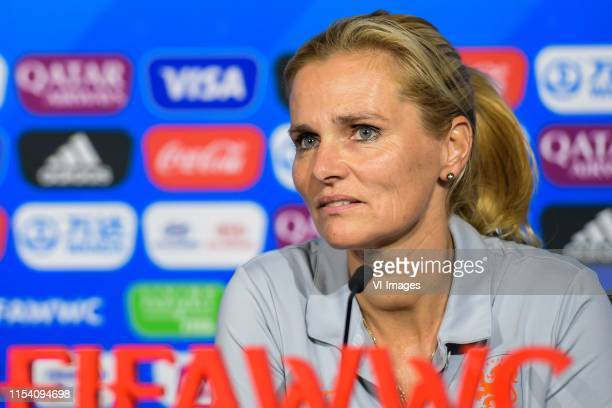 Coach Sarina Wiegman of Netherlands women during a press conference following the 2019 FIFA Women's World Cup France Final match between United...