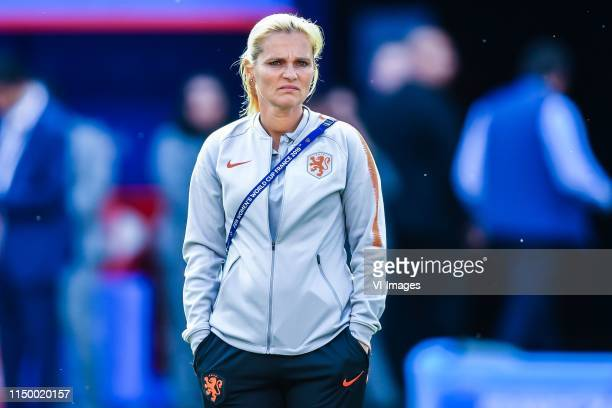 coach Sarina Wiegman of Netherlands women explore stade Hainaut Valenciennes during a training session prior to the FIFA Women's World Cup France...