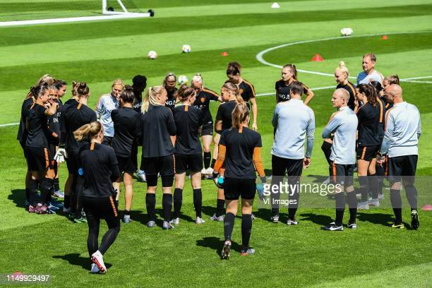coach Sarina Wiegman of Netherlands women with her players at the start of the training during a training session prior to the FIFA Women's World Cup...