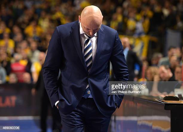 Coach Sasa Obradovic of ALBA Berlin during the game between Alba Berlin and Maccabi Tel Aviv on April 9 2015 in Berlin Germany