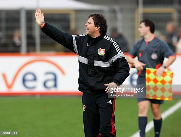 Coach Sascha Lewandowski of Leverkusen gestures during the A juniors Bundesliga match between Bayer 04 Leverkusen and RotWeiss Essen at the...