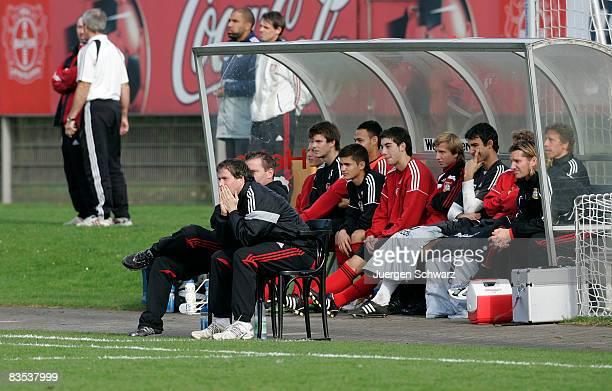 Coach Sascha Lewandowski of Leverkusen watches his team playing during the A juniors Bundesliga match between Bayer 04 Leverkusen and RotWeiss Essen...