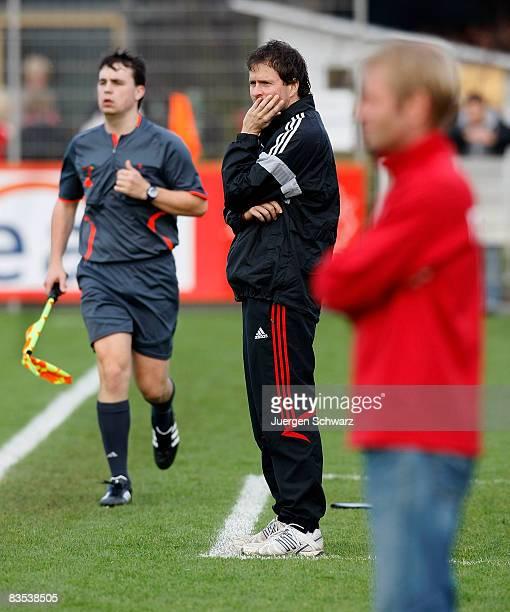 Coach Sascha Lewandowski watches his team playing during the A juniors Bundesliga match between Bayer 04 Leverkusen and RotWeiss Essen at the...