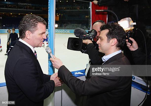 Coach Sean Simpson of Lions Zurich gives an tv interview after the IIHF Champions Hockey League 2nd semi-final match between Espoo Blues and ZSC...