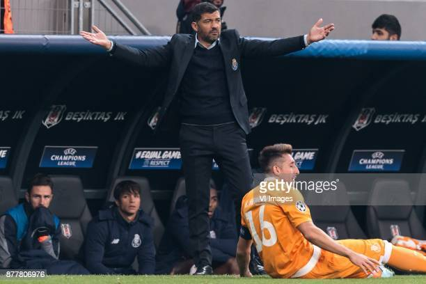 coach Sergio Conceicao of FC Porto Hector Herrera of FC Porto during the UEFA Champions League group G match between Besiktas JK and FC Porto on...