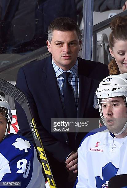Coach Sheldon Keefe of the Toronto Marlies watches the play develop against the Syracuse Crunch during AHL game action January 3, 2016 at Ricoh...