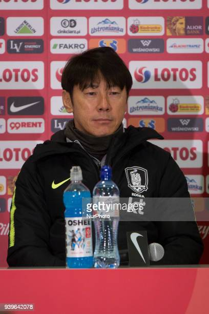 Coach Shin Taeyong at press conference after the international friendly soccer match between Poland and South Korea national football teams at the...