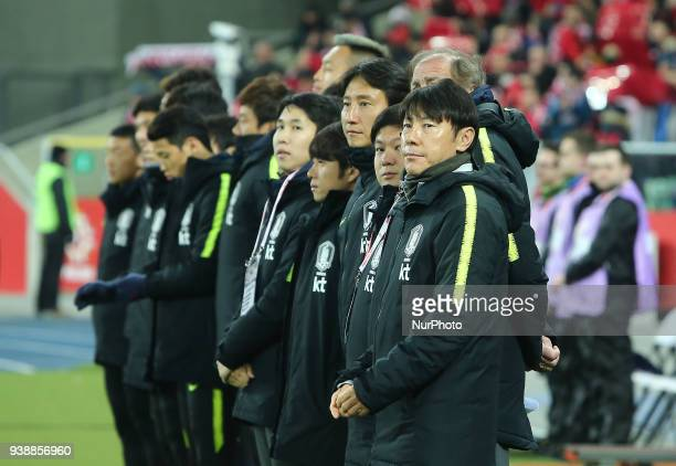 Coach Shin Taeyong during the international friendly soccer match between Poland and South Korea national football teams at the Silesian Stadium in...