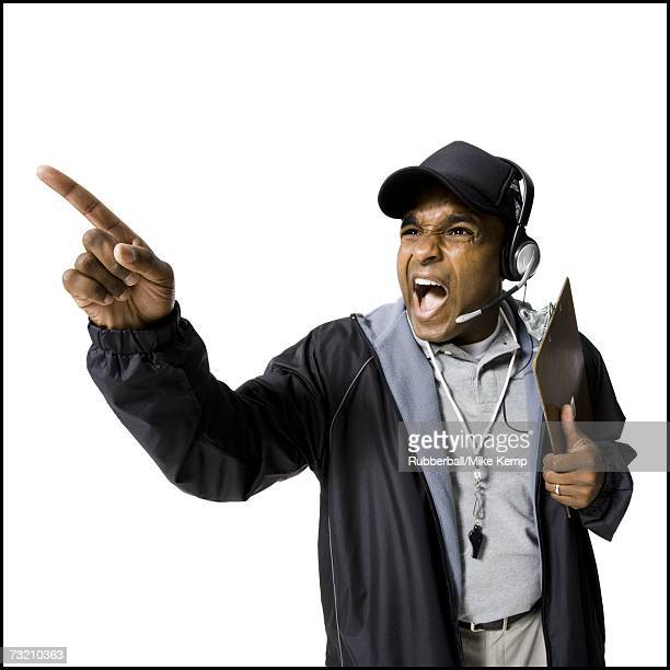 coach shouting and pointing - 笛 ストックフォトと画像