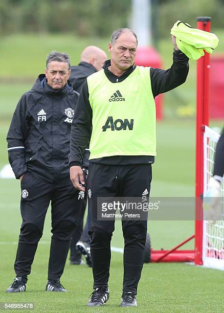 Coach Silvino Louro of Manchester United in action during a first team training session at Aon Training Complex on July 13 2016 in Manchester England